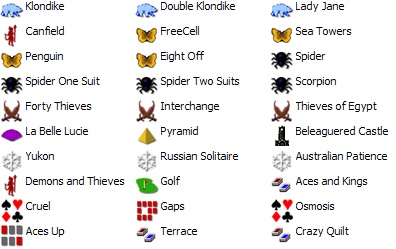 30 games in Most Popular Solitaire